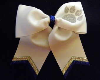 Blue White and Silver Paw Print Hairbow