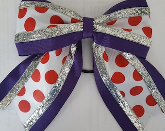 Purple Red and White Polka Dot Hairbow