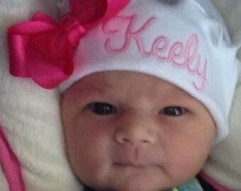 RUFFLE NEWBORN GIRL Hat, Bright Pink Thread, Hot Pink Boutique Bow, Beanie Hat, Hospital Hat, Newborn Hat, Baby Beenie,