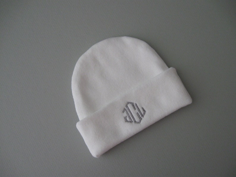 8e260e8d013ea CUFF NEWBORN BEANIE Hat White with gray Hospital Hat Baby