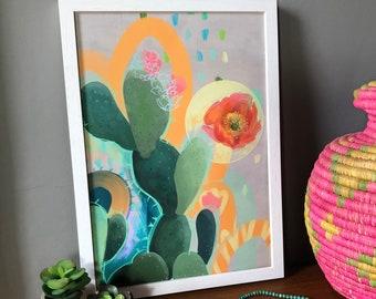 Desert Rain, prickly pear, cactus flower, fine art print, tropical botanical painting, wall art