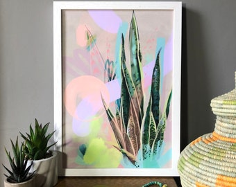 Tropic Pop, snake plant, pastel abstract fine art print, tropical botanical painting, wall art