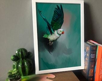 Out of the Dark, Malabar Parakeet, parrot fine art print, tropical bird painting, wall art