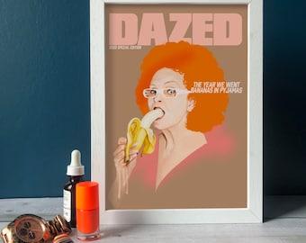Bananas in Pyjamas, 2020 Memorabilia, Dazed cover illustration, Vivienne Westwood, pop art portrait