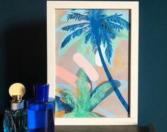 Palm Beach, blue and mint green, palm tree pastel abstract fine art print, tropical botanical painting, wall art