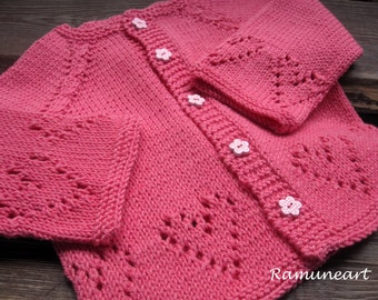 Coral/pink merino wool  and cotton sweater for girl, Pink hand knitted cardigan, Girl sweater, jacket, cardigan, Heart sweater for girl