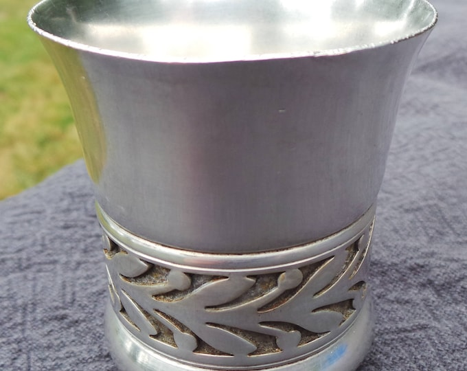 S F Vintage French Silver Plate Small Beaker Antique Christening Religious Cup Baby Shower Baptism Confirmation Gift or Toothbrush Holder