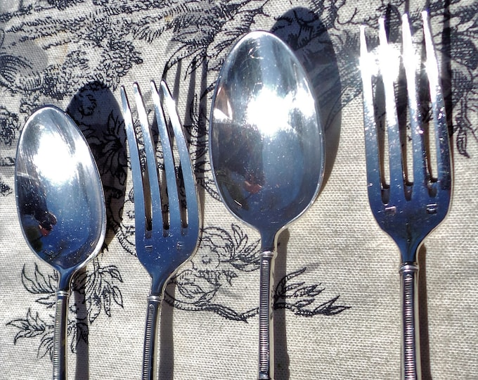 Vintage French Two Pair Silver Plated Cake Spoons and Forks Stamped Metaille Blanc and 13g Good Quality For A High Tea for Two