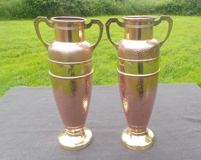 French Pair Secession Fine Copper and Brass Flower Vases Pots Art Nouveau Art Deco Jugendstil Copper Tall Vase Unmarked Dents Repair