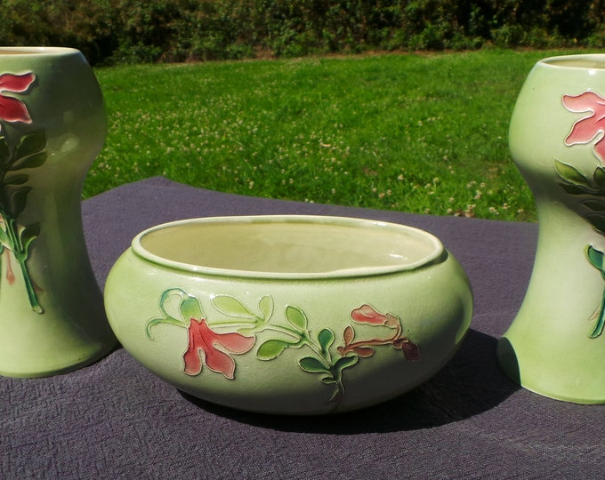 St Clements 1920's Hand Decorated Trio Two Vases and Bowl Made in France Ceramic St Clement Fully Marked Art Nouveau Style Tubelined Pottery