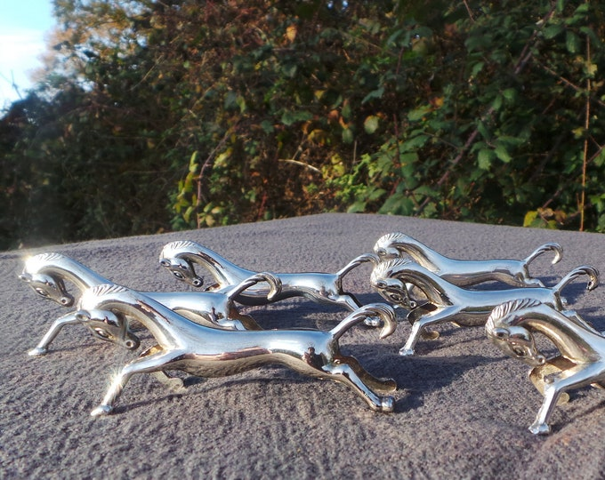 Vintage French Horse Knife Rests - Quality Set Good Vintage Plated Set Ideal for Top Table or Silver Wedding Anniversary Top Quality