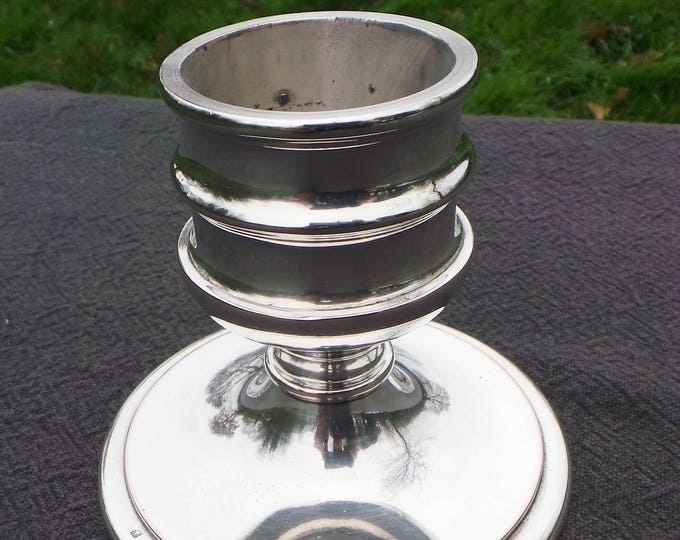 French Candle Stick Marked AVM Superb Vintage French Silver Plate Modern Candle Stick Heavy Sconce Cast Metal Good Quality Chateau Chic