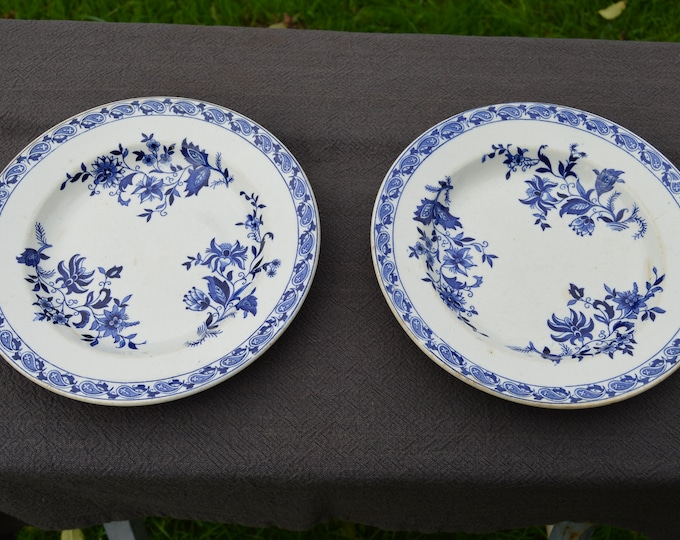 Two SG Delft Decorative Plates Beautiful Blue and White Transfer Printed Fully Marked S G Delft Anchor Antique Bowls Pair