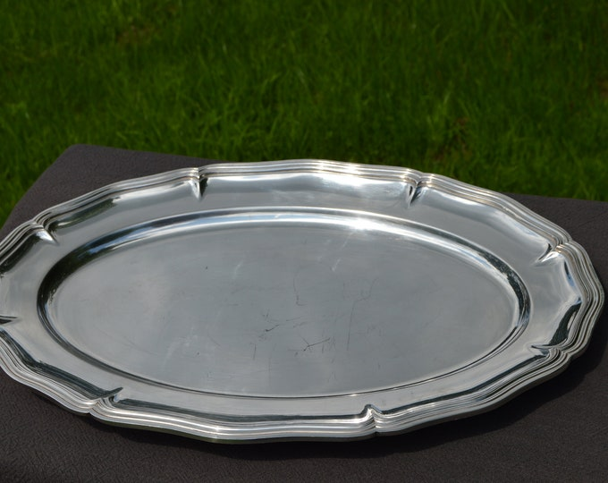 Christofle Large Platter French Vintage Silver Plate Spatour Metaille Blanc Makers Mark 1935-1987 Beautiful Example Silver Plate Platter