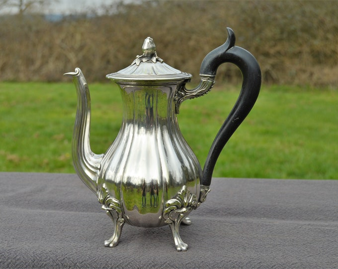 Christofle Coffee Pot French Antique Silver Plate Metaille Blanc Makers Mark Beautiful Example Well Used Footed Pot Heavy Quality