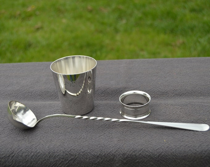 French Silver Plate Toddie Ladle, Beaker and Napkin RIng French Vintage Hallmarked Makers Marks Assorted Collection Silver Plate