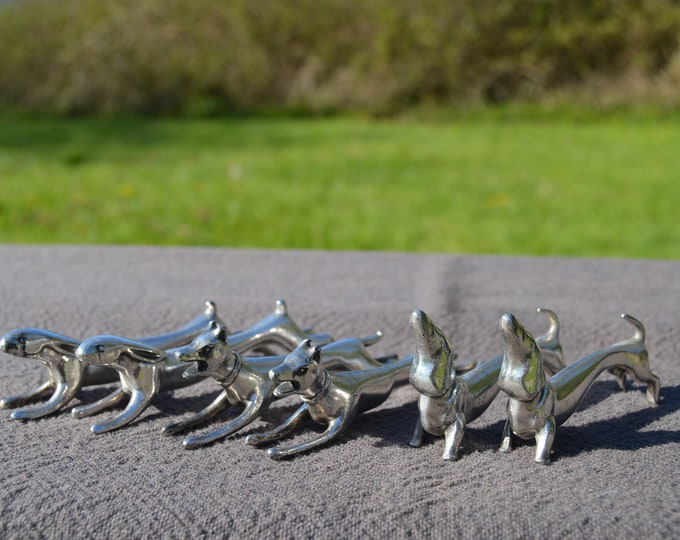 Six Knife Rests Three Pairs Animals Pewter Cast Set Plated of Four Dogs Two Hares Good Condition Tableware Flatware Collected Set of 6 Cast