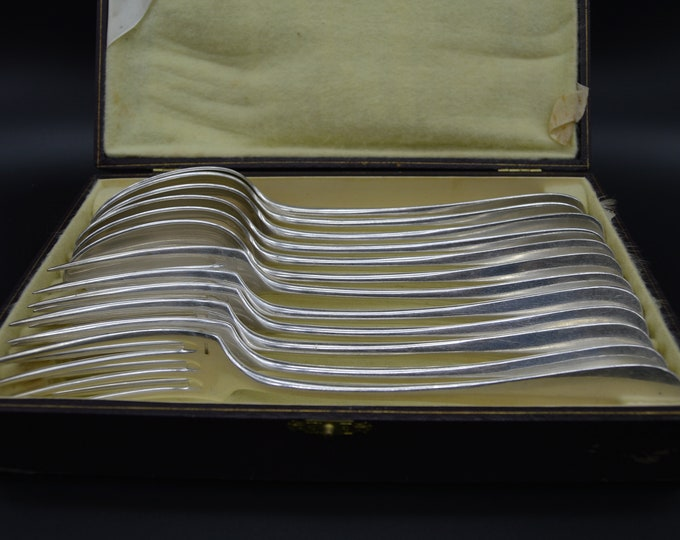 Ercuis 6 Forks and 6 Spoons Boxed Entremets/Dessert French Silver Plated Marked Ercuis Cutlery Flatware Worn
