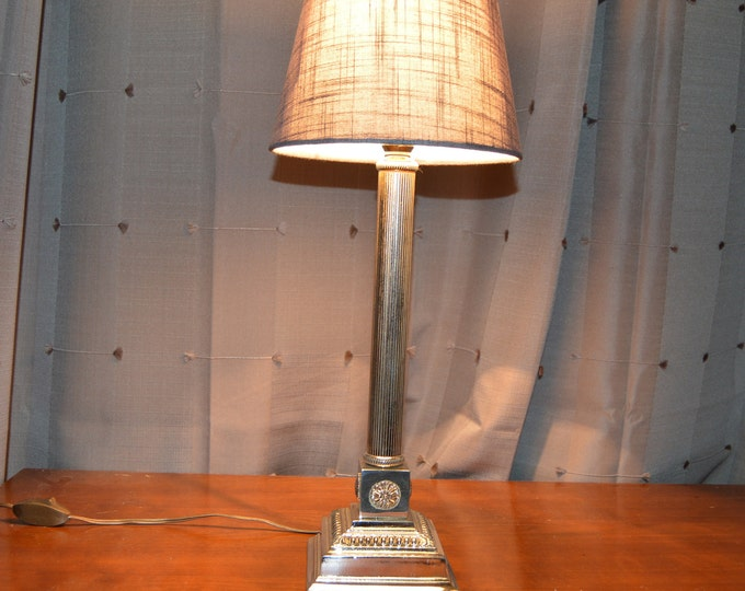 French Table Lamp Column Style Light Polished Bronze Boudoir Electric Lamp Antique Table Classical Fine Cast Good Quality