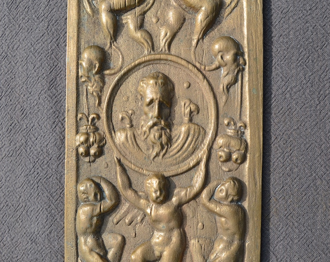 Solid Bronze Plaque French Wall Plaque Bronze Vintage Piece Heavy Cast Bronze Panel