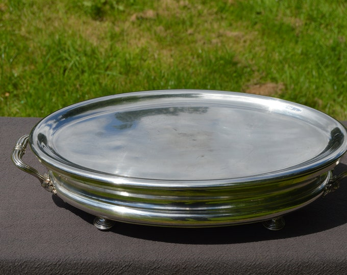 Christofle Food Warmer French Silver Plated Oval BIG Silver Plated Handles Chauffe Plat Fully Marked Christofle Made in France 1862-1874