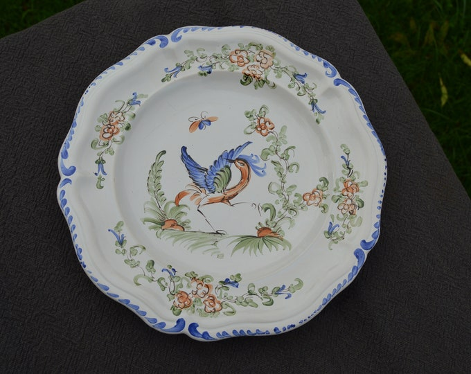Vintage French Faience Plate 20th Century Style Hand Painted Moustiers Berain Design Mufraggi French Made Faience