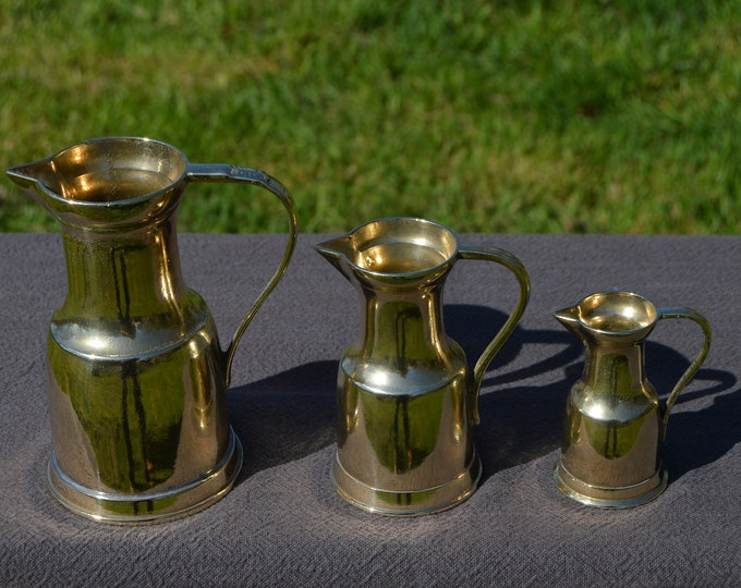 Antique French Solid Polished Bronze Jugs Pitchers Heavy Bronze Sweeping Handle Totally Hand Made Fabulous French Pitchers Set of Three