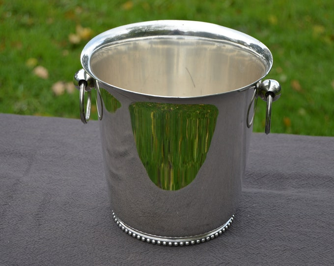 Champagne Bucket Ravinet D Enfert Silver Plated Metaille Blanc Marked 24 Louis XVI Design Good Condition