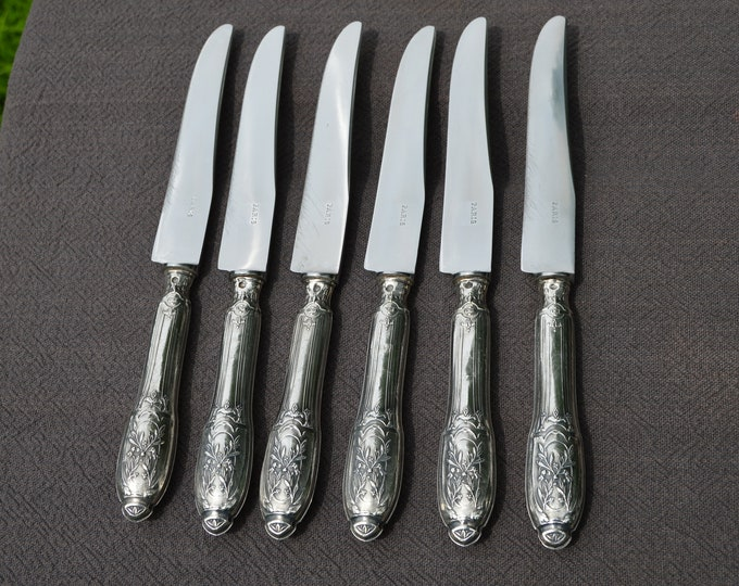 Silver Handled Knives Unboxed French Silver Marked Minerva Vintage Cutlery Flatware Knives Set of Six Steel Blades Marked Paris