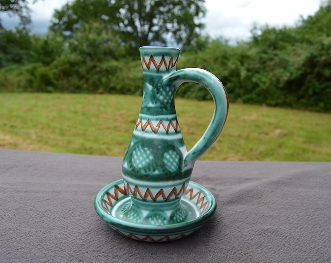 Candle Holder Robert Picault Vallauris Vintage French Modern Art Design Grey Green Ground Fully Signed Antique French Vintage Ceramics