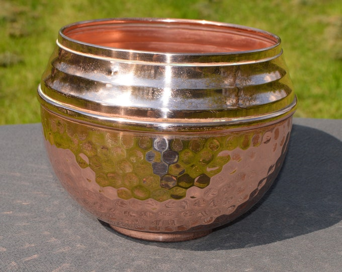 Cache Pot Art Deco Style Fine Copper Flower Bowl Copper Pot Planter Hand Made Copper Bowl Jardiniere Fully Marked Villedieu Hammered