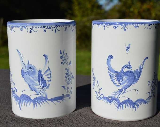 Moustiers Ceramic Vases Pair Pottery Fully Marked Moustiers 'Berain' Decoration Provence Fine Condition Blue and White Mufraggi Atelier