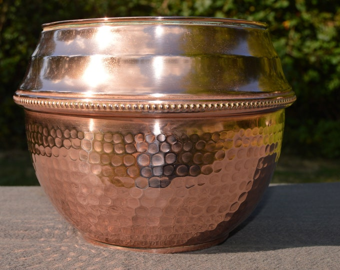 Cache Pot Art Deco Style Fine Copper Flower Bowl Copper Pot Planter Jugendstil Copper Bowl Jardiniere Fully Marked Villedieu Minor Dents