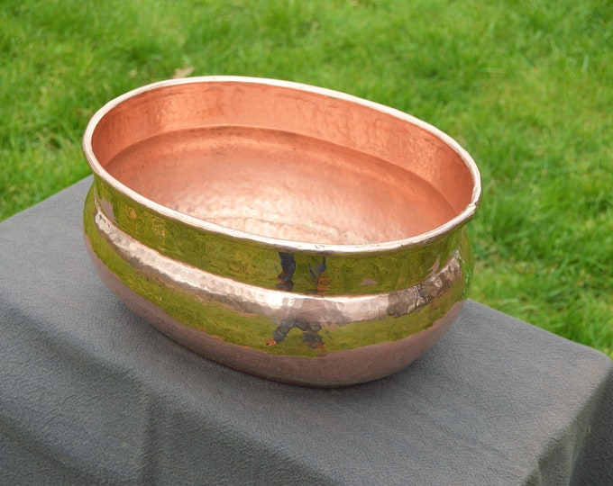 Antique French Copper Indoor Planter Jardiniere Massive Copper Totally Hand Made Hand Hammered Antique French Chateau Copper Cache Pot