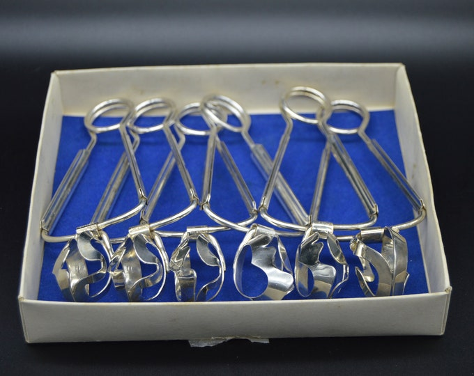 Silver Plated Snail Tongs Holders BTE SGDG Metal Blanc Escargot Grips porteur d'escargots