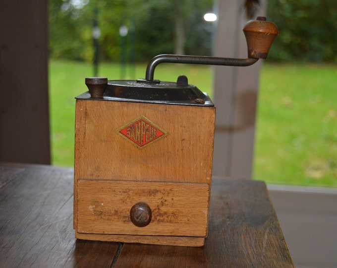 Vintage French AS RRR Sanpeur Coffee Grinder Metal Handle Attachments Fully Working Moulin à Café Polished Some Rust Coffee Bean Mill
