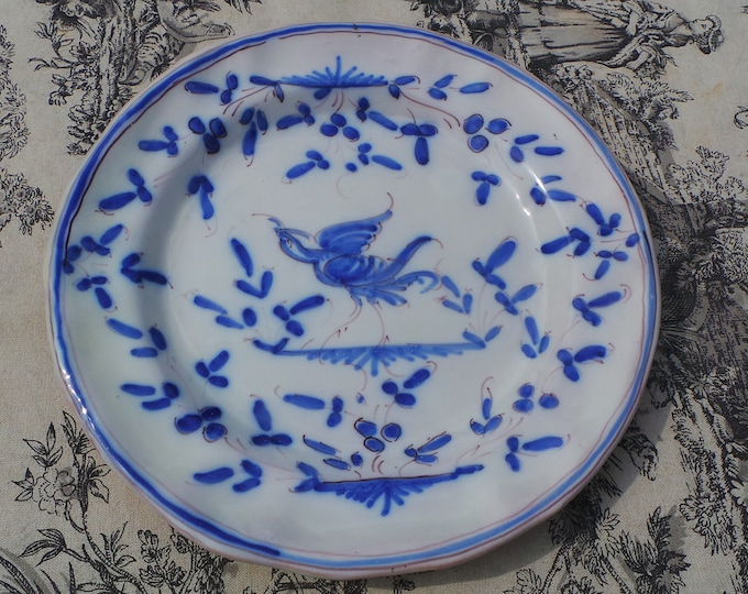 Martres Tolosanes Moustiers Style Ceramic Plate 'Berain' Decoration Good Size Lovely Decoration Hand Painted Fully Signed Blue and White