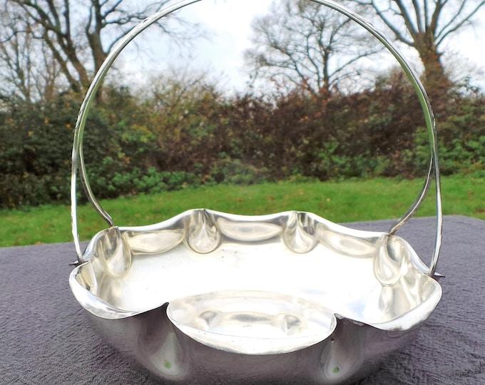 Vintage French Silver Plate Dish Fruit Bowl Bon Bon Beautiful Design Hooped Basket Super Table Centre Piece French Bowl Silver Plated Basket