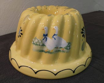 Bundt Kugelhopf Vintage French Country Mold Glazed Earthenware French Bread Ceramic Brioche Mold Farmhouse Alsace Kitchen Baking Patisserie
