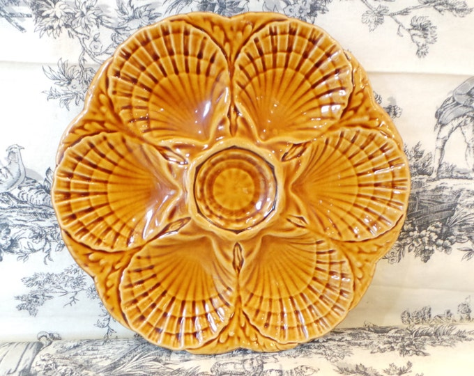 Oyster Plate Sarreguemines Scollop Huitre Mussel Fish Plate Vintage French Super Condition Seafood Plate Shellfish Plate Oyster Plate