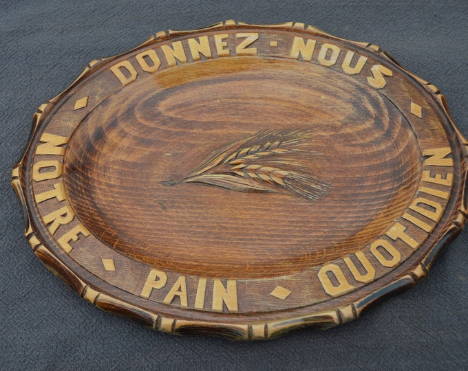 Bread Board French Antique Fruit Serving Board Beautiful Patina Hand Carved Serving Plate Wooden Platter Black Forest Style Varnished