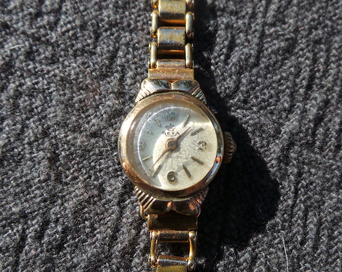 """Rexa Gold Plated Swiss Watch Vintage Ladies Watch Numbered 1238 Lunette 20 Microns Plaque D'or Steel Backed 17cm 6 3/4"""" Long"""