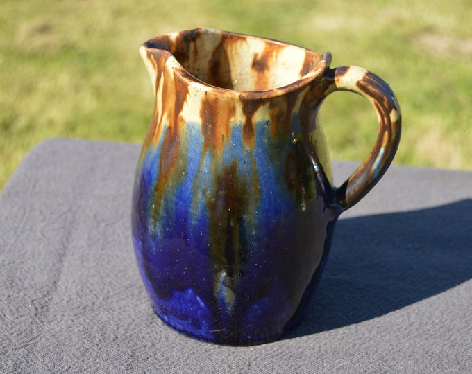 Joseph Talbot Pottery Jug Pitcher Fully Marked Made by Hand Fait Main La Borne Cher Robust Stoneware Vintage Brown and Blue Jug