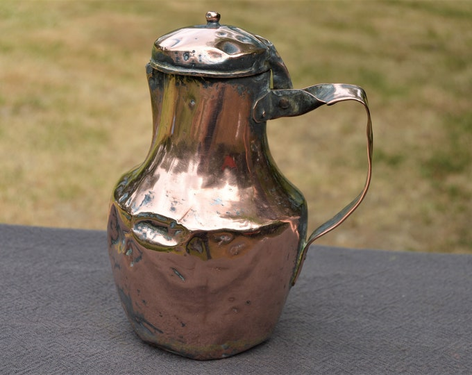 Antique French Broken and Bashed Solid Copper Kettle Hot Water Pot Echauffoir Copper Jug Pitcher Hand Made Copper Pot Early 19th Century