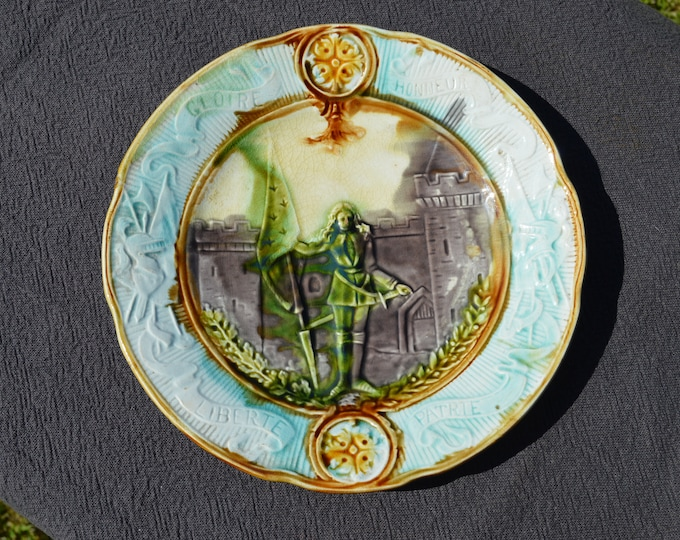 Onnaing Joan of Arc Plate Jeanne D'Arc Antique French Majolica Plate Onnaing Late 19th Century Impressed Mark French Barbotine Authentic