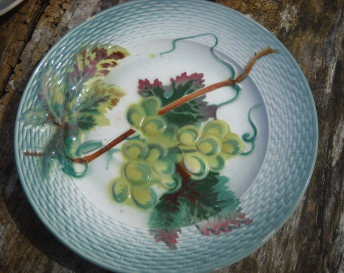 Antique French Majolica Fruit Plate St Amand 1896 - 1952 Fully Marked Pottery French Barbotine Ceramic Autumn Grapes Basketweave Edge