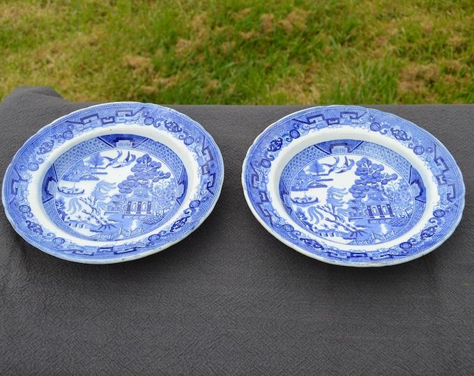 Two Plates Bordeaux French Faience China Porcelain Ceramic Transfer Printed Willow Pattern 1835-1844 Blue White J Vieillard David Johnstone