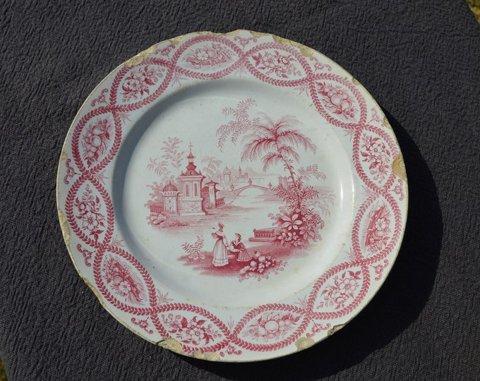 French Faience David Johnstone Full + Impressed Mark Bordeaux Plate China Porcelain Ceramic Transfer Printed Dish 1835-1844 Pink and White