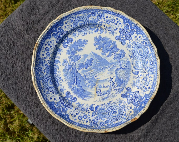 Early Blue and White German Decorative Transfer Printed Plate - Marked Villeroy and Boch Mettlach Full Marked Old Worn Plate