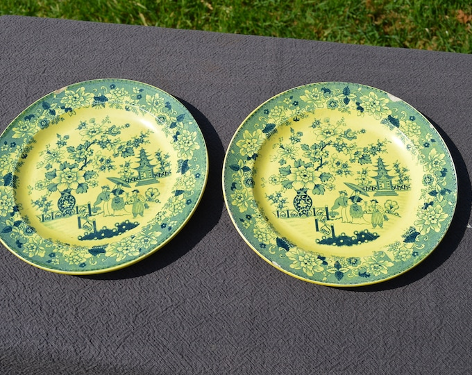 Plates Pair Early Yellow and Blue Transfer Printed Plates early 19th Century Chinese Design Pagoda Oriental Marked Chantilly Star